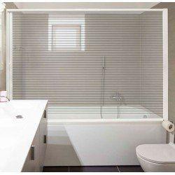 Paroi enroulable baignoire. Extensible, 90-150 cm de large. Aluminium blanc. Porte PET transparente à rayures. Marquage CE.