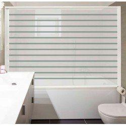 Paroi enroulable baignoire. Extensible, 90-150 cm de large. Aluminium blanc. Porte PET blanche à rayures. Marquage CE.