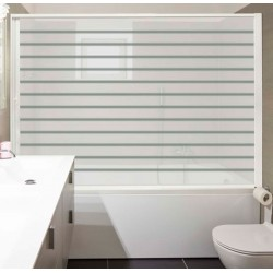 Rollaway screen-bathtub. Extensible 90-150 cm width. White aluminium. White PET door with lines. CE marking.